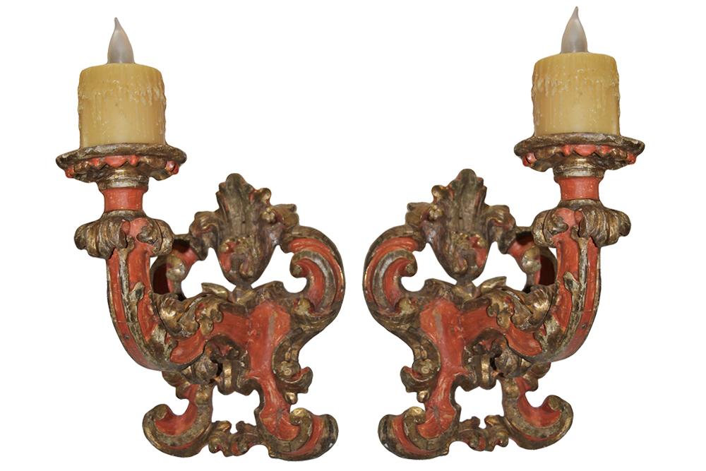 A Pair of 18th Century Baroque Italian Polychrome and Parcel-Gilt Sconces No. 4593