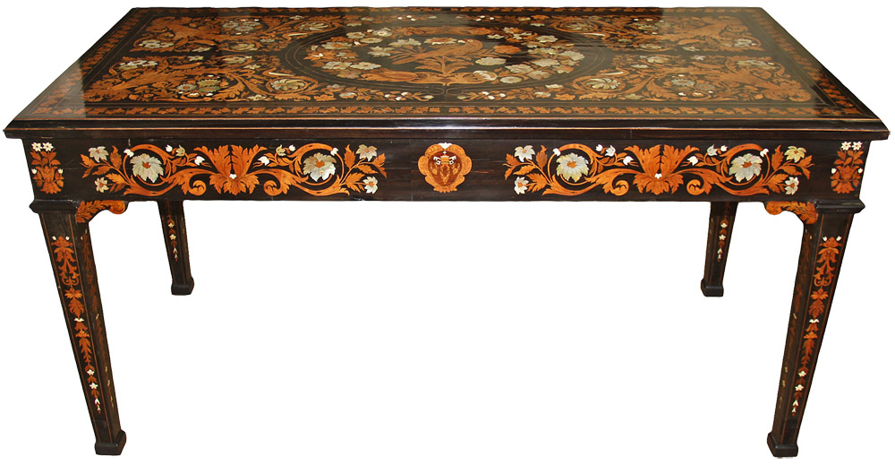 A Mid-19th Century Italian Masterpiece of Marquetry and Parquetry Mother-of-Pearl, Bone and Exotic Wood Inlaid Ebony Table, Created by Luigi and Angelo Falcini No. 4596