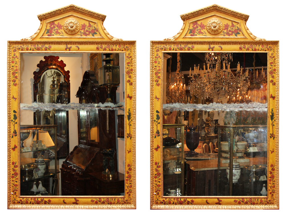 A Pair of Late 18th Century Italian Lacca Povera and Polychrome Mirrors No. 4609