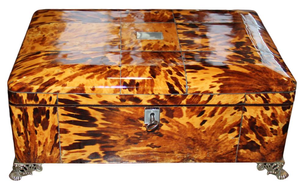 A 19th Century English Regency Blonde Tortoiseshell Box No. 4616