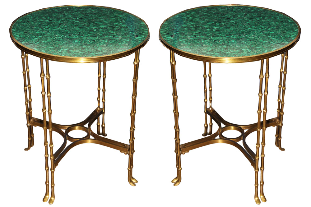 A Pair of 19th Century Russian Neoclassical Malachite and Brass Side Tables No. 4627
