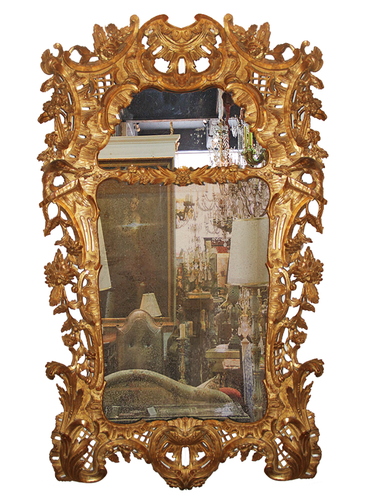 A Highly Unusual and Rare 18th Century Transitional English Chippendale Chinoiserie to Rococo Giltwood Mirror No. 4635