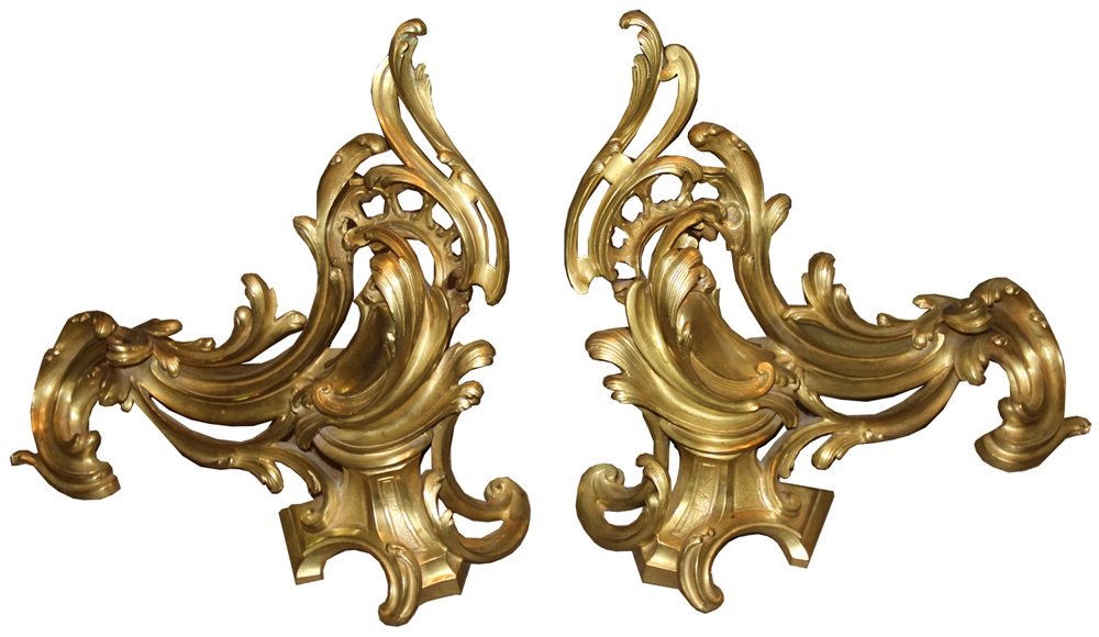 A Pair of 19th Century French Louis XV Gilt-Bronze Chenets (Andirons) No. 816