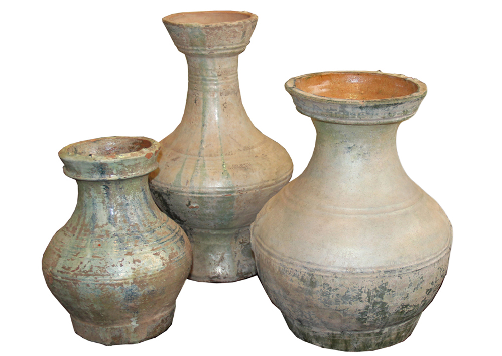 A Set of Three Han Dynasty Glazed Earthenware Jars No. 1992