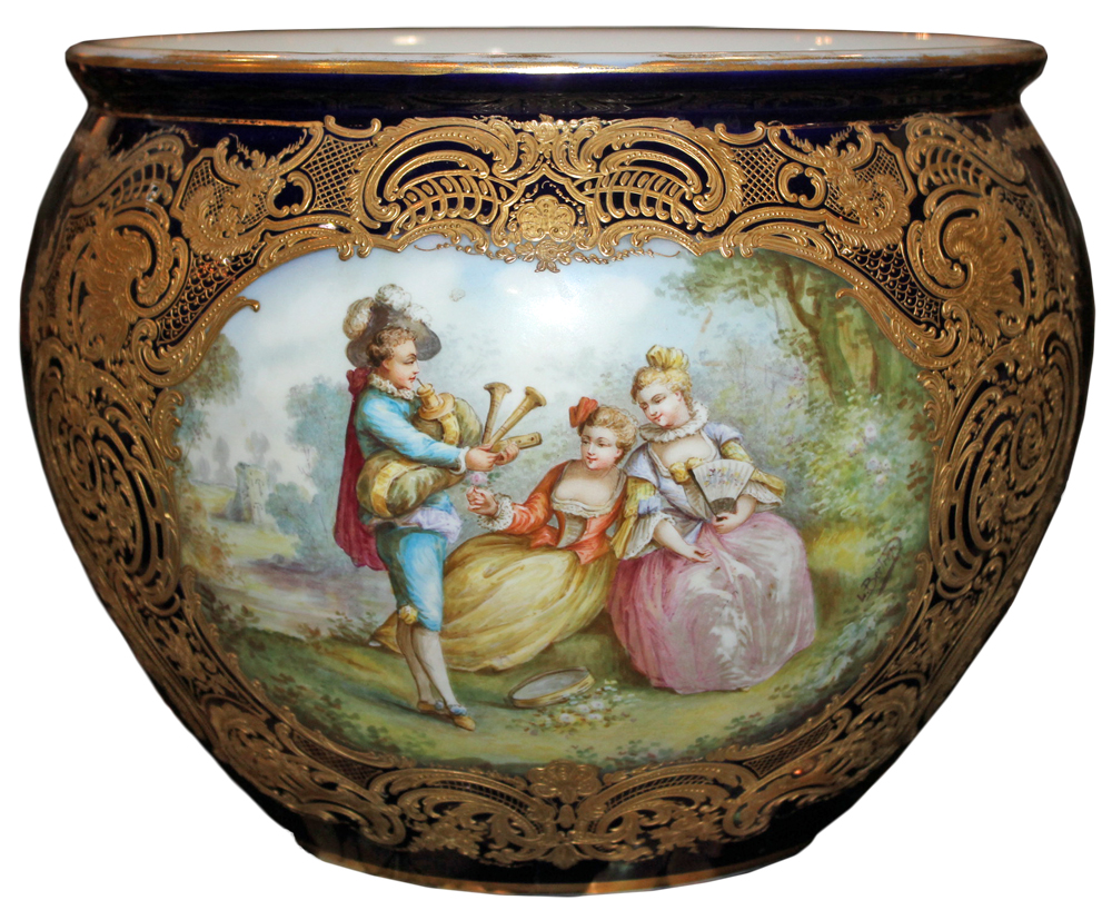 A Large 19th Century Sèvres Porcelain and Parcel-Gilt Cachepot No. 2541