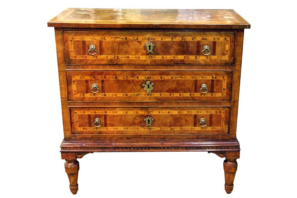 A Well-Sized 18th Century Louis XVI Italian Burl Walnut Parquetry Commodino No. 4294
