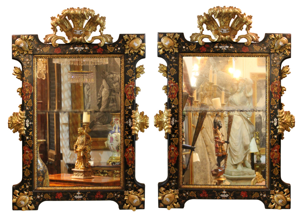An Incomparable Pair of 18th Century Venetian Palazzo Parcel-Gilt, Polychrome, Mother-of-Pearl and Semi-Precious Stone Accented Mirrors No. 4643