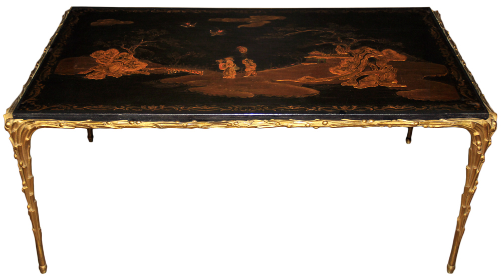 A Diminutive 19th Century Chinoiserie Black Lacquered Panel No. 4655