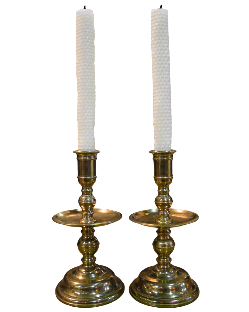 A Pair of 19th Century English Brass Candlesticks Item No. 4675