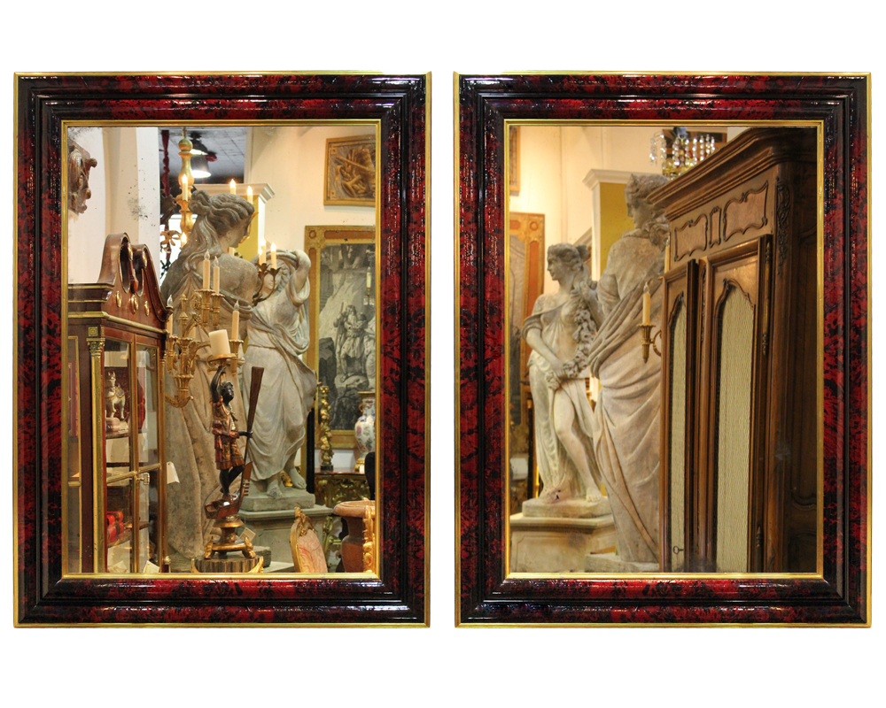A Pair of Palatial 19th Century English Regency Red Tortoiseshell Mirrors No. 4690