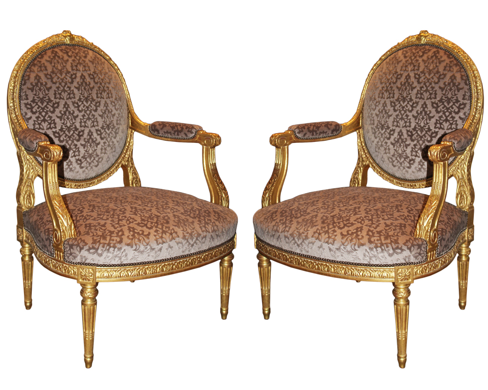 A Pair of Late 18th Century Italian Louis XVI Giltwood Marquise Armchairs No. 4691