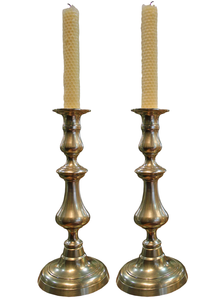 A Pair of Late 18th Century English Brass Candlesticks No. 4696