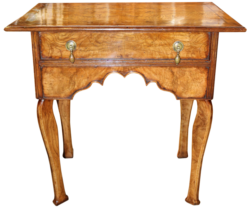 An 18th Century English Queen Anne Elmwood and Burl Elmwood Lowboy No. 4698
