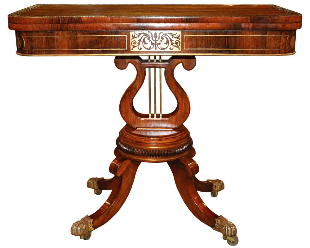 A 19th Century English Regency Rosewood Folding Games Table No. 4715