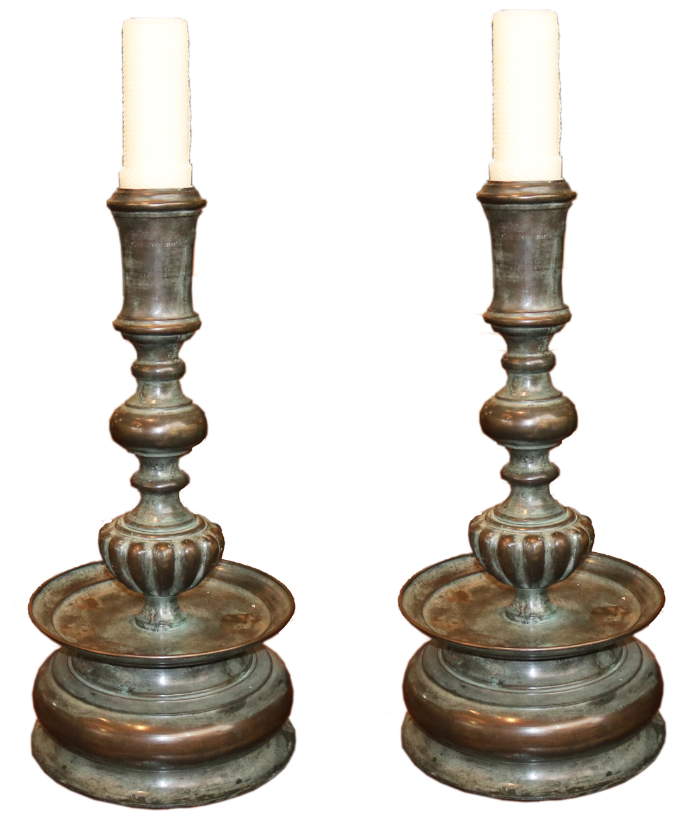 A Pair of Palatial 20th C. Italian Bronze Candlesticks No. 4745