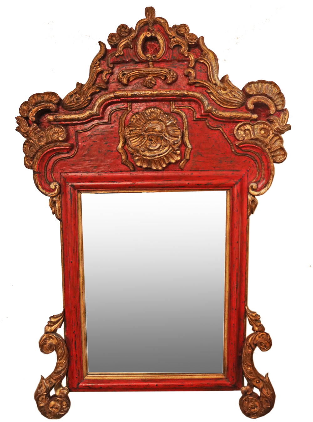 A Rare Portuguese Red Lacquer and Giltwood Mirror No. 4751