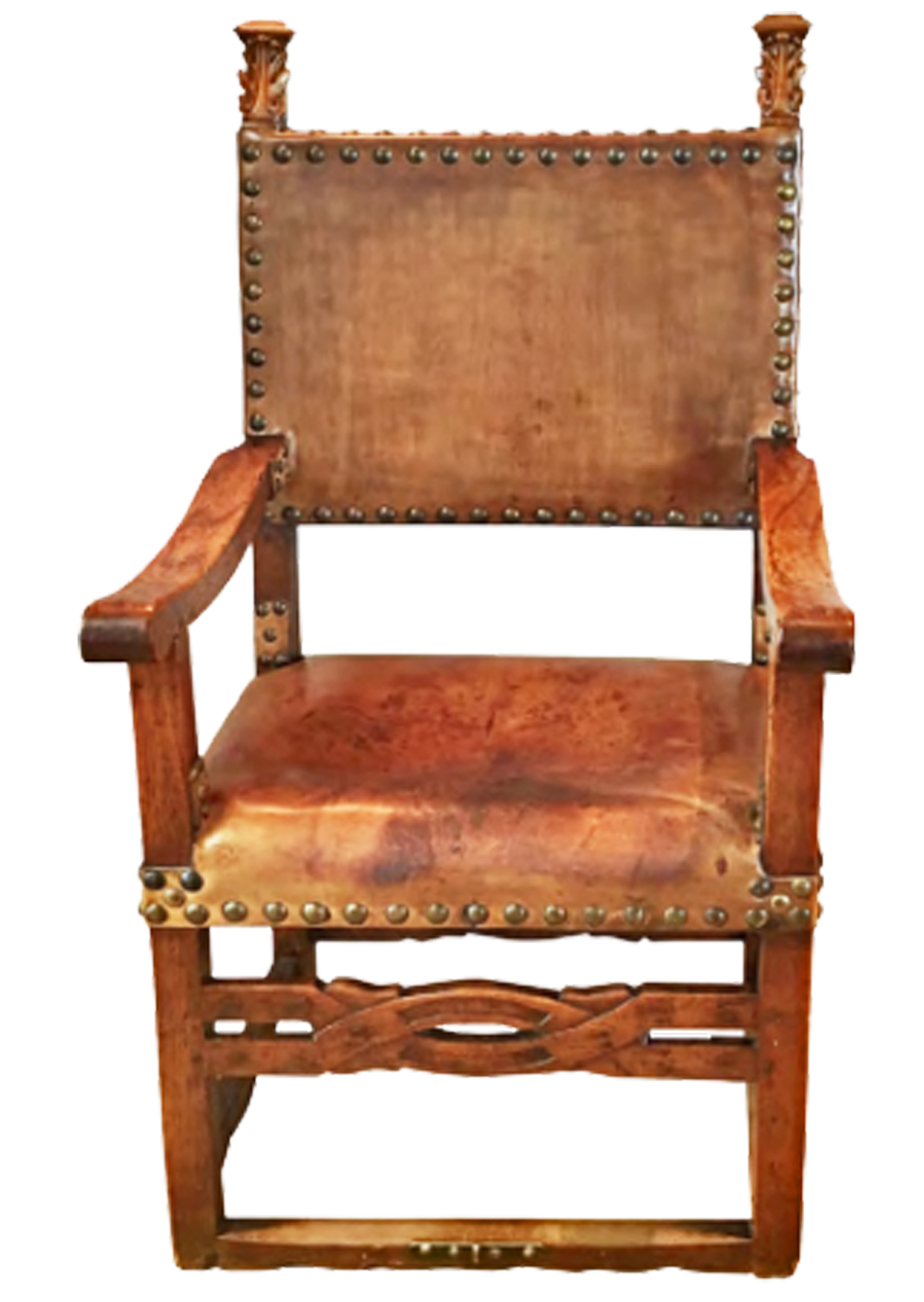 A 17th Century Continental Walnut and Leather Baroque Armchair No. 4754