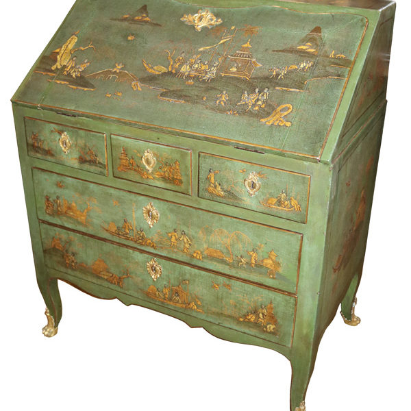 A Late 18th Century Chinoiserie Green Lacquer Slant Front Desk