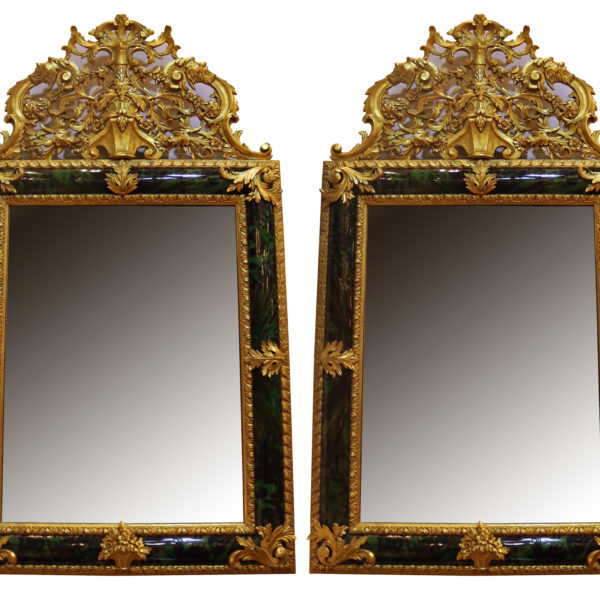 A Pair of 19th Century Green Tortoiseshell Mirror No.4796