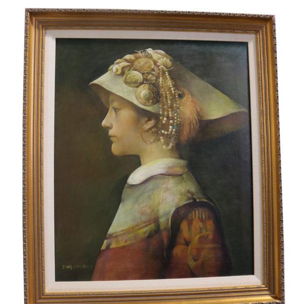 """""""Yi Girl"""" an oil on canvas painting by Jiang Jianzhong No.4806"""