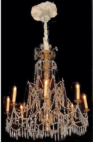 An 18th Century Genovese Parcel-Gilt and Crystal Eight-Light Chandelier No. 2527