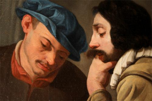 """A 17th Century Oil on Canvas entitled """"Contemplative Gentlemen,"""" attributed to Italianate Flemish painter Theodor Rombouts (Antwerp 1597-1637) No. 2359"""