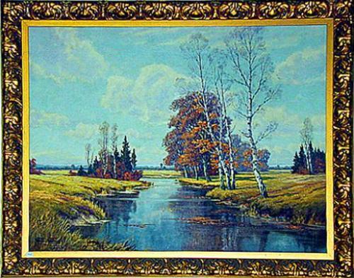 A 19th Century Oil on Canvas, River Landscape No. 564