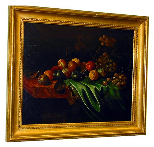 A 19th Century Continental Oil on Canvas, Still Life of Assorted Fruits No. 464
