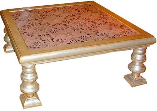 A Square 19th Century Italian Noir de Nuit and Pale Rose Mattoni Coffee Table No. 2457