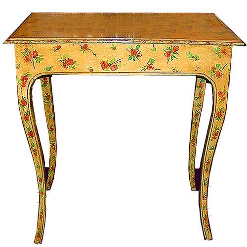 An 18th Century Italian Louis XV Green Polychrome Side Table No. 352