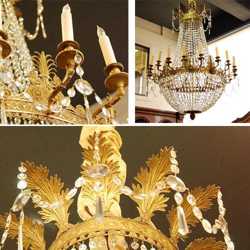 A Second-Quarter 19th Century French Empire Crystal and Gilt Metal Eighteen-Light Chandelier No. 2588