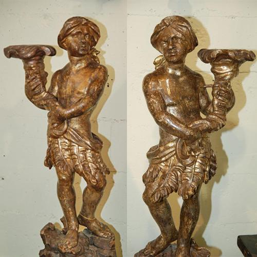 An Exotic Pair of 18th Century Venetian Silver Gilt Carved Figures No. 1569