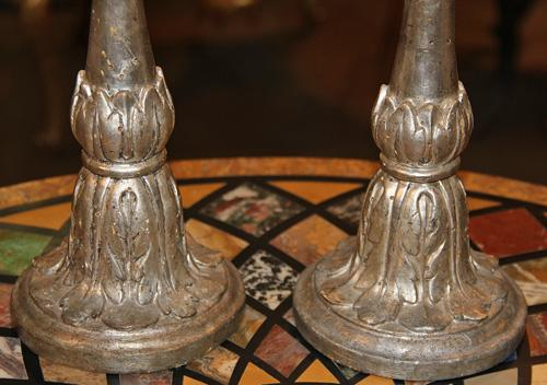 A Pair of Understated Louis XV Italian Silvered Giltwood Candlesticks No. 2263