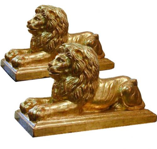 A Regal Pair of 19th Century Gilded Stoneware Lions No. 116
