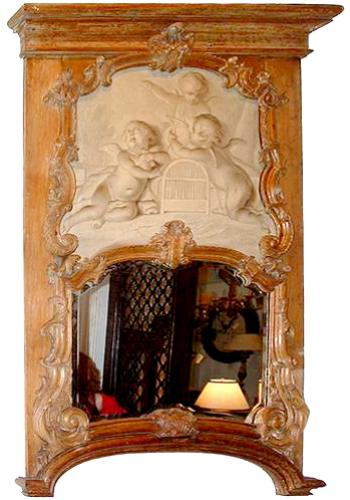 An 18th Century Dutch Louis XV Carved Oak Trumeau Mirror No. 2646