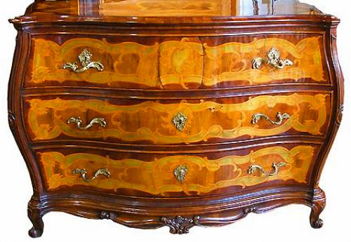 An 18th Century German Louis XIV Transitional Marquetry and Parquetry Bombé Commode No. 2636