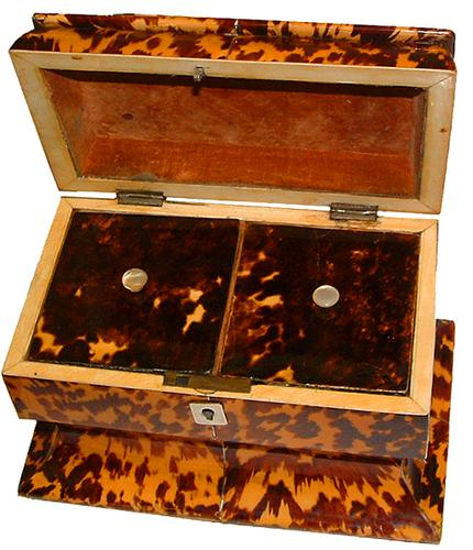 An English Regency Tortoiseshell Tea Caddy of Unusual Sarcaphogus Shape No. 2654