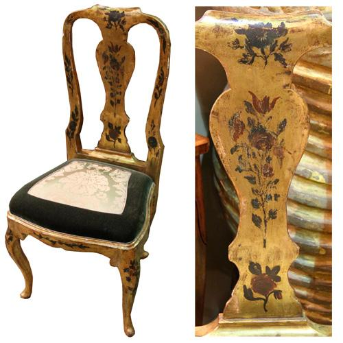A Rare Set of Eight-18th Century Italian Venetian Gilt and Polychrome Dining Chairs No. 2510