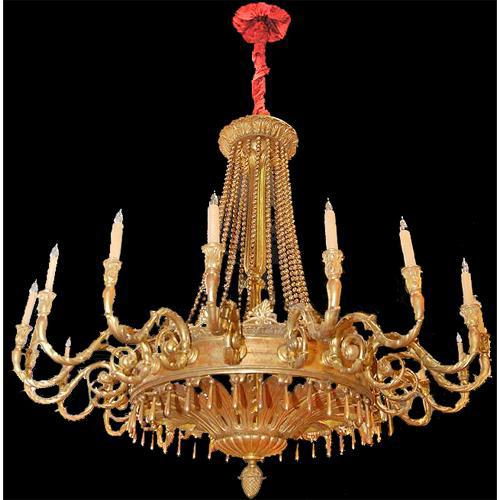 A Rare 19th Century Italian Empire Carved Giltwood Eighteen-Light Chandelier No. 2683
