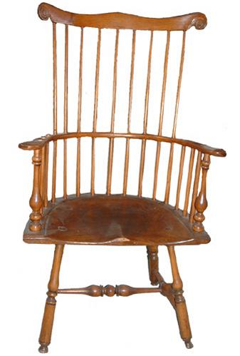 An 18th Century Carved Fruit Wood American Colonial Comb Back Armchair No. 2507