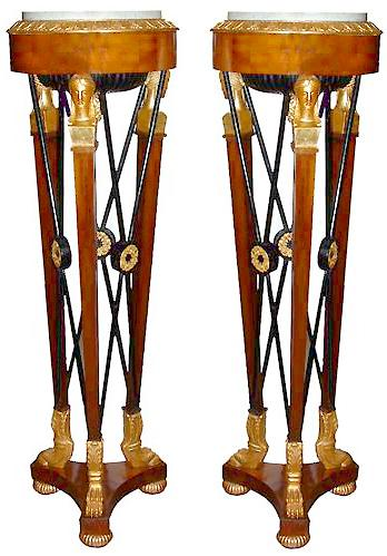 An Impressive Pair of 19th Century Italian Empire Mahogany, Parcel-Gilt and Ebonized Athenienne Torchères No. 2691