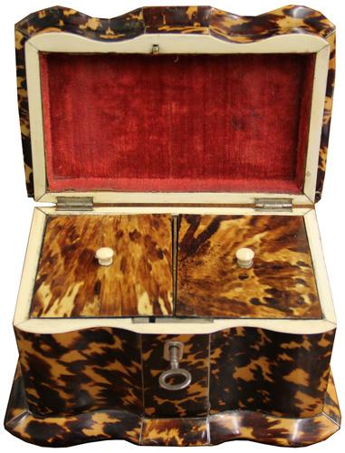 A 19th Century English Regency Tortoiseshell Tea Caddy No. 1488