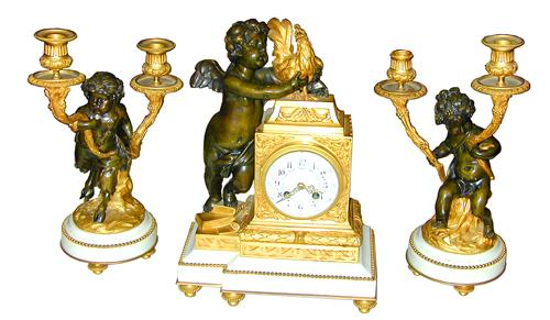 A French Louis XVI Style Parcel-Gilt, Marble and Bronze Garniture Set No. 1304
