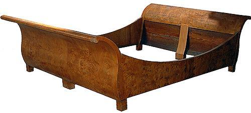 A Graceful 19th Century Austrian Biedermeier Burlwood Lit-de-Bateau Bed No. 2424