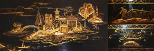 A Chinese Black Lacquered and Gilt-Chinoiserie Box No. 1603