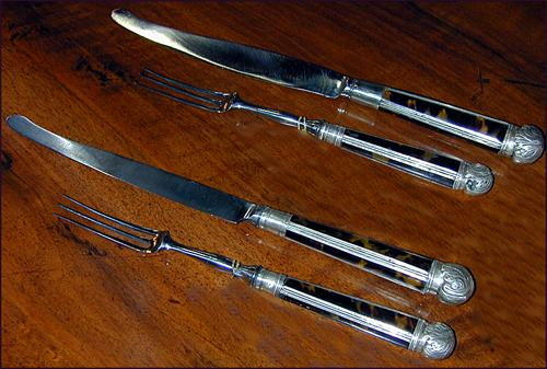 Two Sets of English Regency Silver & Tortoiseshell Knives & Forks No. 880