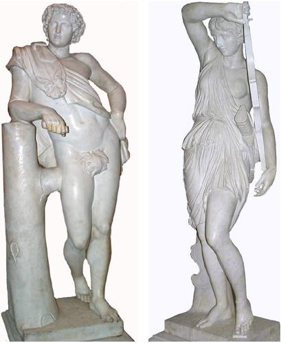 A Pair of Early 19th Century Roman Carrara Marble Statues No. 2759