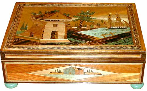 An Exceptional Late 19th Century Straw Marquetry Jewelry Box No. 2477