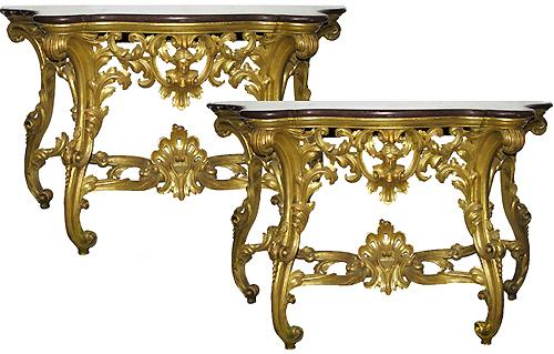 A Magnificent Pair of Italian Louis XV Giltwood Serpentine Console Tables No. 2821