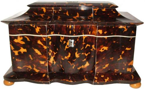 An Unusually Large and Rare 19th Century English Regency Tortoiseshell Tea Caddy No. 2832